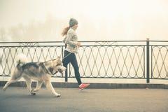 Bild des jungen Mädchens laufend mit ihrem Hund, alaskischer Malamute Lizenzfreies Stockfoto