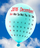 Bild des Kalenderabschlusses oben Dezember 2016 Lizenzfreie Stockfotografie