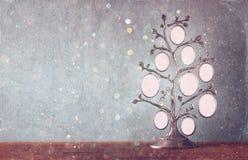 Bild des klassischen Rahmens der Weinleseantike des Stammbaums auf Holztisch und Funkeln beleuchtet Hintergrund Gefiltertes Bild Stockbilder
