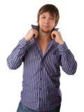 Bild des lächelnden glücklichen frohen Kerls Lizenzfreie Stockfotografie