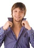 Bild des lächelnden glücklichen frohen Kerls Lizenzfreies Stockfoto