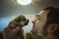Bild des netten kleinen Welpen in den Händen des jungen Mannes Stockfoto