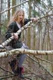 Bild des schönen blonden Mädchens, das auf Birkenzweigen sitzt Stockfotos
