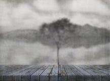 Bild des Schmutzes 3D mit dem Holztisch, der heraus herein zu einem Baum noch schaut lizenzfreie abbildung