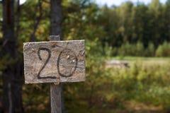 Bild des Zeigers im Holz Nr. 20 auf Platte Lizenzfreies Stockfoto