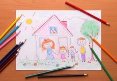 Bild einer glücklichen Familie auf Papier Stockbild