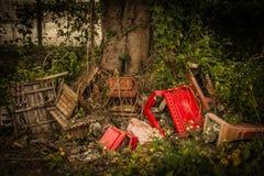 Bild einer Müllkippe mit ruiniertem Ziegelstein Lizenzfreie Stockbilder