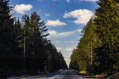 Bild einer Straße mit Bäumen und des blauen Himmels mit Wolken Lizenzfreies Stockbild
