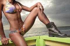 Bild einer womans Karosserie in einem Bikini stockbilder