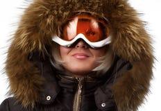 Bild eines blonden Snowboarder Stockfoto