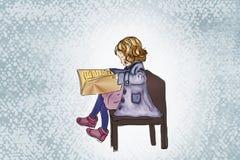 Bild eines hübschen träumenden Mädchens mit Buch Stockfotografie