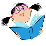 Bild eines Mädchens in den Gläsern, die ein offenes Buch halten Stockfotos