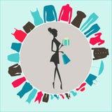 Bild eines Mädchens mit Einkaufstaschen Stockbilder