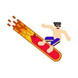 Bild eines Surfers kurz gesagt und Sonnenbrille, der auf ein brennendes Brett fährt, Sommersport Stockbild