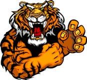 Bild eines Tiger-Maskottchens mit den kämpfenden Händen Lizenzfreie Stockfotografie