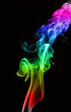 Bild färgad rök på svart bakgrund Arkivbilder