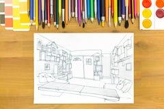 Bild för arkitektkontorsskrivbord Arkivbilder