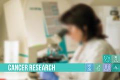 Bild för begrepp för cancerforskning medicinsk med symboler och doktorer på bakgrund Royaltyfri Bild