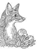 Bild för färgläggningboken som visar en räv Arkivbilder