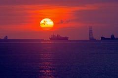 Bild för havsolnedgångbakgrund Royaltyfria Foton