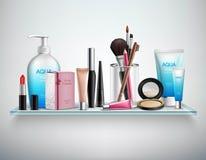 Bild för hylla för makeupskönhetsmedeltillbehör realistisk royaltyfri illustrationer