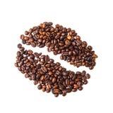 Bild för kaffeböna som utgöras av kaffebönor på en vit bakgrund royaltyfria foton