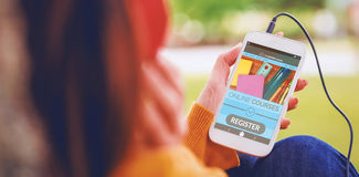 Bild för komposit 3d av den digitala bilden av e-lärande manöverenheten på skärmen Fotografering för Bildbyråer