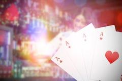 Bild för komposit 3d av den digitala sammansatta bilden som spelar kort Fotografering för Bildbyråer