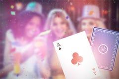 Bild för komposit 3d av flickor som firar ungmöpartiet Royaltyfria Foton