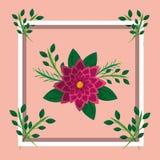 Bild för kort för ram för garnering för ordningsblommor blom- stock illustrationer