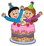 Bild för lycklig födelsedag för 5 gamla år vektor illustrationer