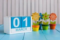Bild för mars 1st av träfärgkalendern för marsch 1 med blomman på vit bakgrund Den första vårdagen tömmer utrymme för Arkivfoton