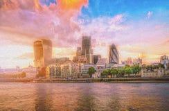 Bild för oljamålarfärg av skyskrapor av staden av London över Thameset River på solnedgången arkivbilder