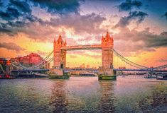 Bild för oljamålarfärg av tornbrogränsmärket i den London staden på solnedgången royaltyfri bild