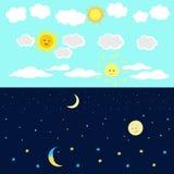 Bild för tecknad film för dagnatthimmel royaltyfri illustrationer