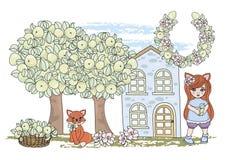 Bild för tecknad film för uppsättning för illustration för vektor för färg för SAGA för RÄV för gemkonster vektor illustrationer