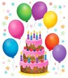 Bild 4 för tema för födelsedagkaka Royaltyfria Bilder