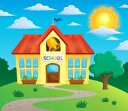 Bild 3 för tema för skolabyggnad Arkivfoto