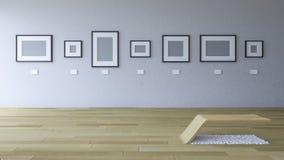 bild för tolkning 3d av gallerirum med den tomma fotoramen vektor illustrationer