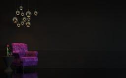 Bild för tolkning 3d för modern lyxsvartvardagsrum inre Royaltyfria Foton