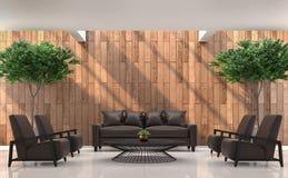 Bild för tolkning 3d för modern modern vardagsrum inre Royaltyfria Foton