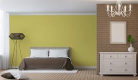 Bild för tolkning 3d för modernt sovrum inre Arkivbilder