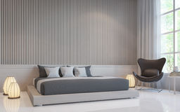 Bild för tolkning 3d för modernt vitt sovrum inre Arkivfoto