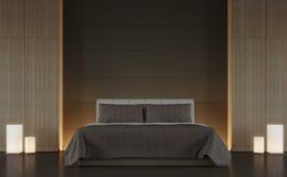 Bild för tolkning för stil 3d för modernt brunt sovrum inre minsta Arkivfoto
