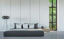Bild för tolkning för stil 3D för modernt vitt sovrum minsta Royaltyfria Foton