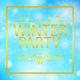 Bild för vektor för text för vinterparti guld- Royaltyfri Bild