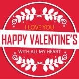 Bild för vektor för Valentine Day Circle Happy Valentine ` s Royaltyfria Foton