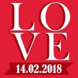 Bild för vektor för Valentine Day FÖRÄLSKELSE 14022018 Royaltyfri Fotografi