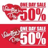 Bild för vektor för Valentine Day One dagförsäljning 50% Arkivfoton