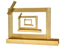 Bild i träbildramar för bild tre eller meddelandepanelnolla arkivfoton